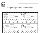 Easter Beginning Letters Worksheet