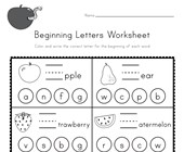 Fruit Beginning Letters Worksheet