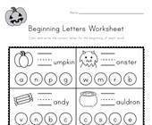Halloween Beginning Letters Worksheet