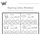 Ocean Beginning Letters Worksheet