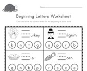 Thanksgiving Beginning Letters Worksheet