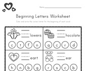 Valentine's Day Beginning Letters Worksheet