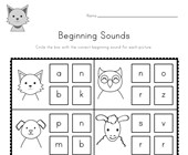 Animal Beginning Sounds Worksheet