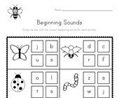 Bug Beginning Sounds Worksheet