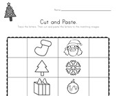 Christmas Beginning Sounds Cut and Paste Worksheet