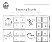 Easter Beginning Sounds Worksheet