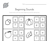 Fall Beginning Sounds Worksheet
