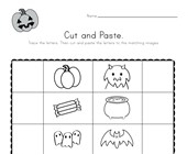 Halloween Beginning Sounds Cut and Paste Worksheet