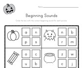 Halloween Beginning Sounds Worksheet