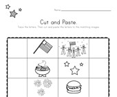 Patriotic Beginning Sounds Cut and Paste Worksheet