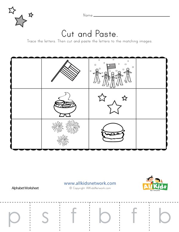 Patriotic Beginning Sounds Cut And Paste Worksheet All Kids Network