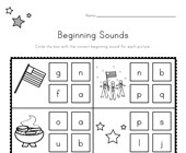 Patriotic Beginning Sounds Worksheet