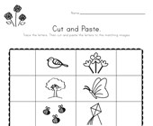 Spring Beginning Sounds Cut and Paste Worksheet
