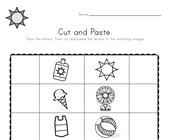 Summer Beginning Sounds Cut and Paste Worksheet