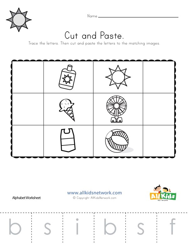 Summer Beginning Sounds Cut and Paste Worksheet | All Kids ...