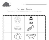 Thanksgiving Beginning Sounds Cut and Paste Worksheet