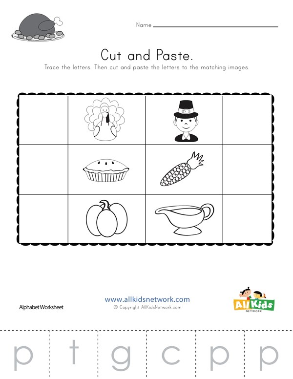 Thanksgiving Beginning Sounds Cut And Paste Worksheet All Kids Network