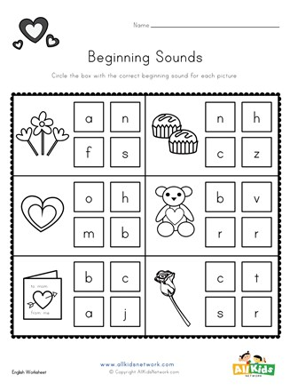 Valentine S Day Beginning Sounds Worksheet All Kids Network