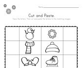 Winter Beginning Sounds Cut and Paste Worksheet