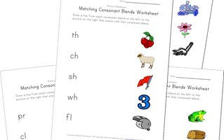matching consonant blends worksheets