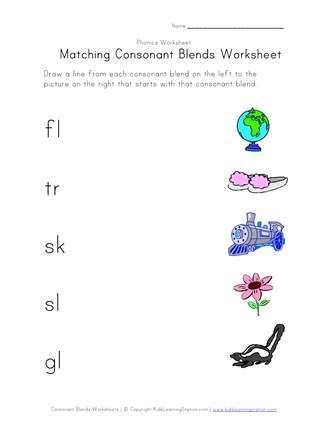 matching consonant blends worksheet 2