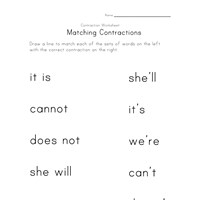 contraction matching worksheet