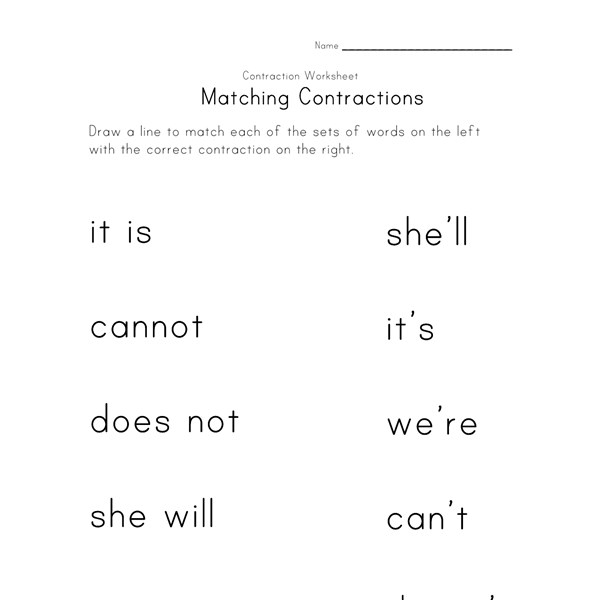 Worksheet Contraction Worksheets contractions worksheets all kids network
