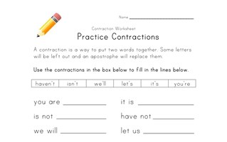 Contractions Worksheets  All Kids Network