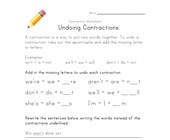 learning contractions worksheet