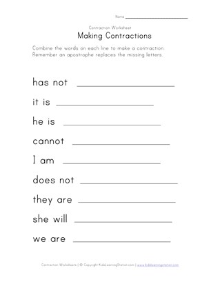 making contraction worksheet