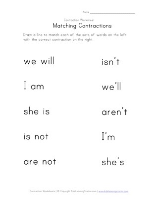 matching contractions worksheet