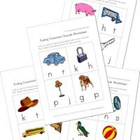 Worksheets Ending Sound Worksheets ending consonants worksheets all kids network