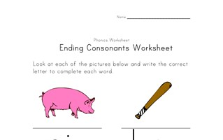 learning consonants worksheet one