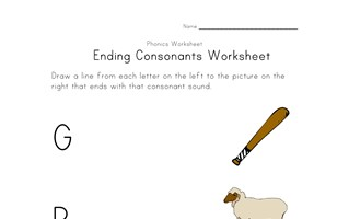 match consonant sounds worksheet three