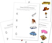 ending consonant matching worksheets