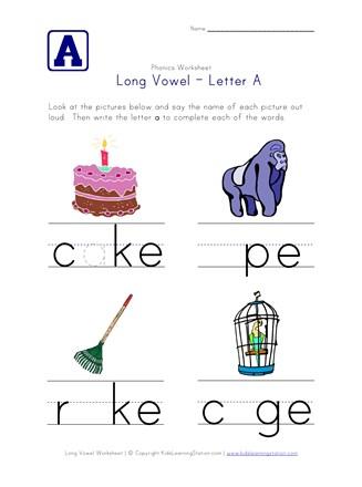 Long Vowel A Worksheet All Kids Network