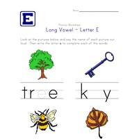 long vowel e worksheet