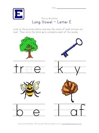 Long Vowel E Worksheet All Kids Network