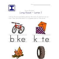 long vowel i worksheet