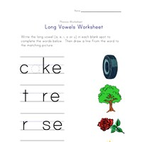 long vowels a, e, i and o worksheet