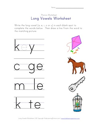 long vowels a, e, i and u worksheet