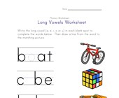 long vowels e, i, o and u worksheet