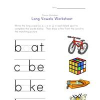 Worksheets Long Vowels Worksheets long vowel matching worksheet a e i and o all kids network