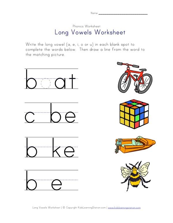 Long Vowel Matching Worksheet - E, I, O and U | All Kids Network