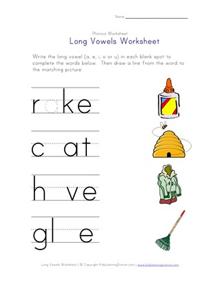 long vowels a, i, o and u worksheet