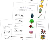 long vowel matching worksheets