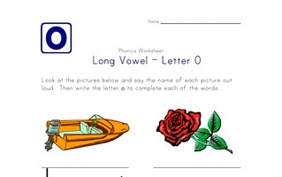 long vowel o worksheet