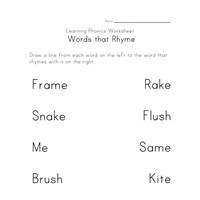rhyming worksheet four
