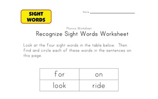 sight word activities for, on, look, ride