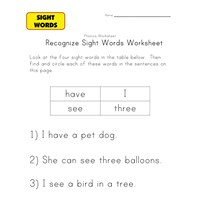 sight word activities have, i, see, three